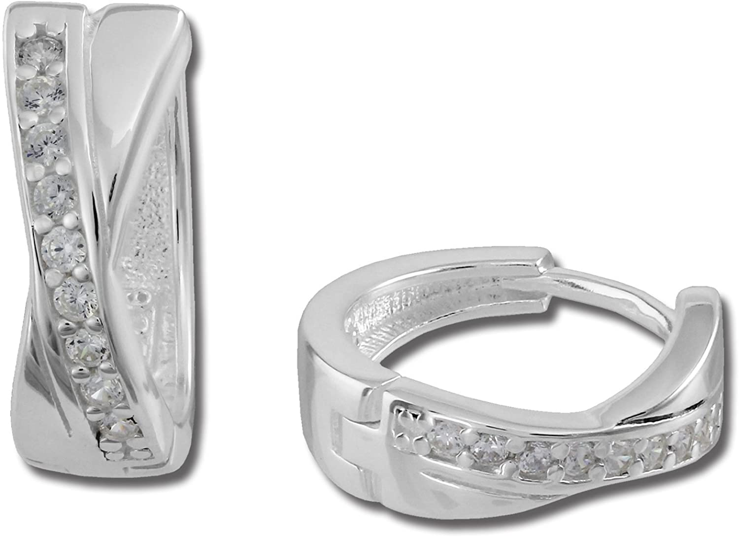 SilberDream Creole X-shaped zirconia white 925 sterling silver earring SDO380W an offer made by Fit4Style
