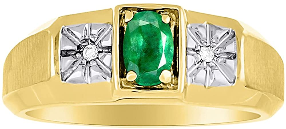 Emerald & Diamond Ring Sterling Silver or Yellow Gold Plated Silver