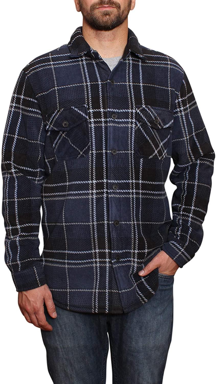 Freedom Foundry Mens Fleece Super Plush Shirt Jacket (Blue, L)
