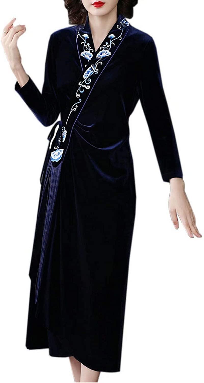 HangErFeng Women's velutum Embroidered Romantic Tassel Classical Qipao Collar Dress