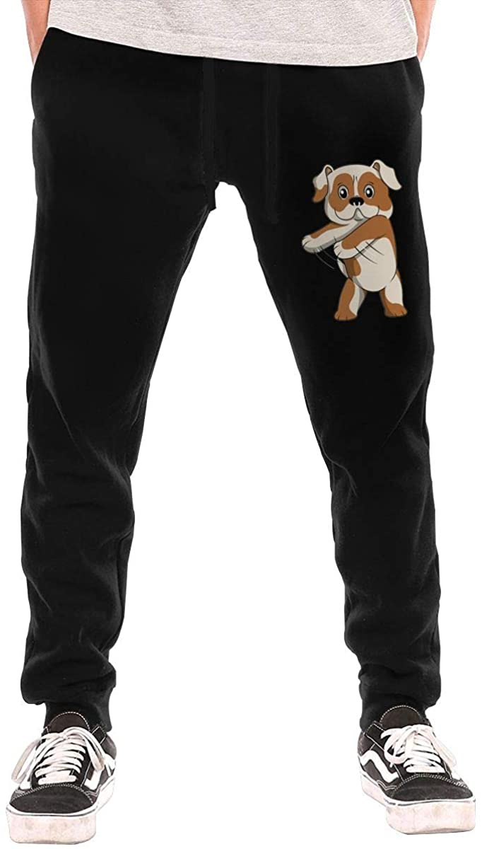 Hjgs English Bulldog Dance Men's Casual Joggers Pants Trousers Sweatpants with Drawstring