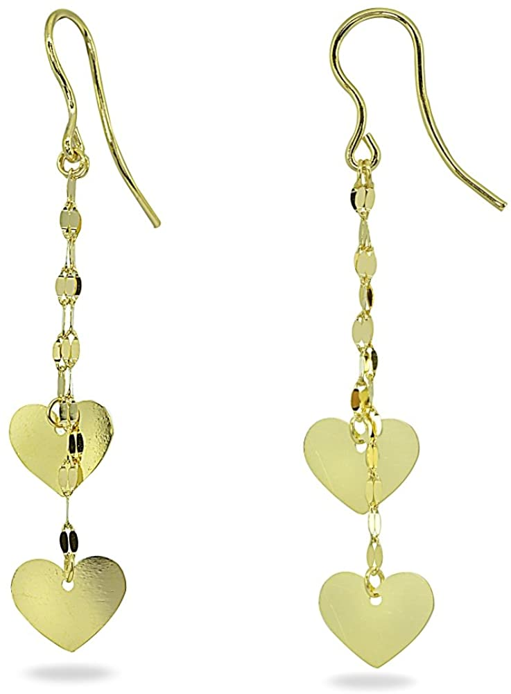 14K Gold Italian Double Heart and Mariner Chain Dangle Earrings