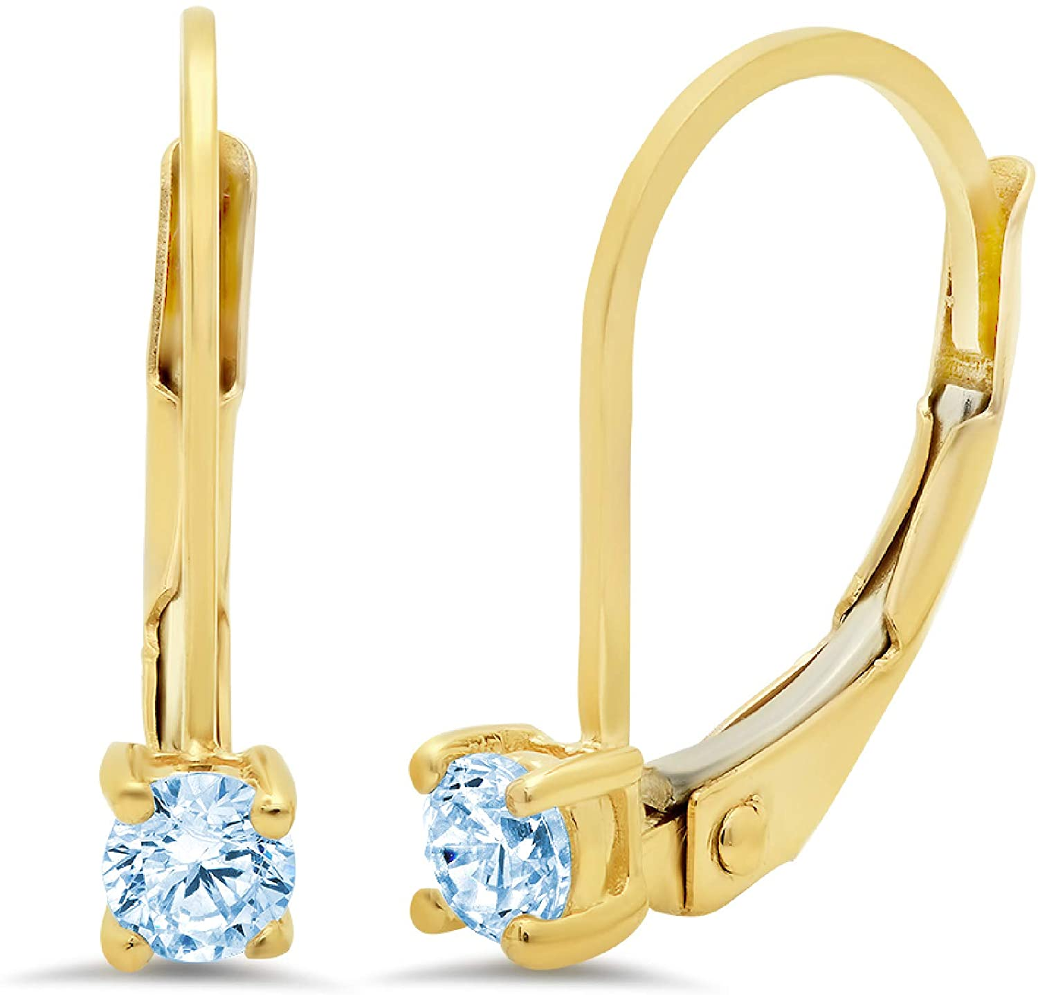 0.20 ct Brilliant Round Cut Solitaire Natural Sky blue Topaz Gem Stone VVS1 Ideal Anniversary gift Leverback Drop Dangle Earrings Real Solid 14k Yellow Gold, Clara Pucci