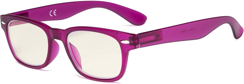 Eyekepper Ladies Computer Glasses - Blue Light Filter Readers Women - UV420 Protection Retro Reading Eyeglasses - Rose Red +3.00
