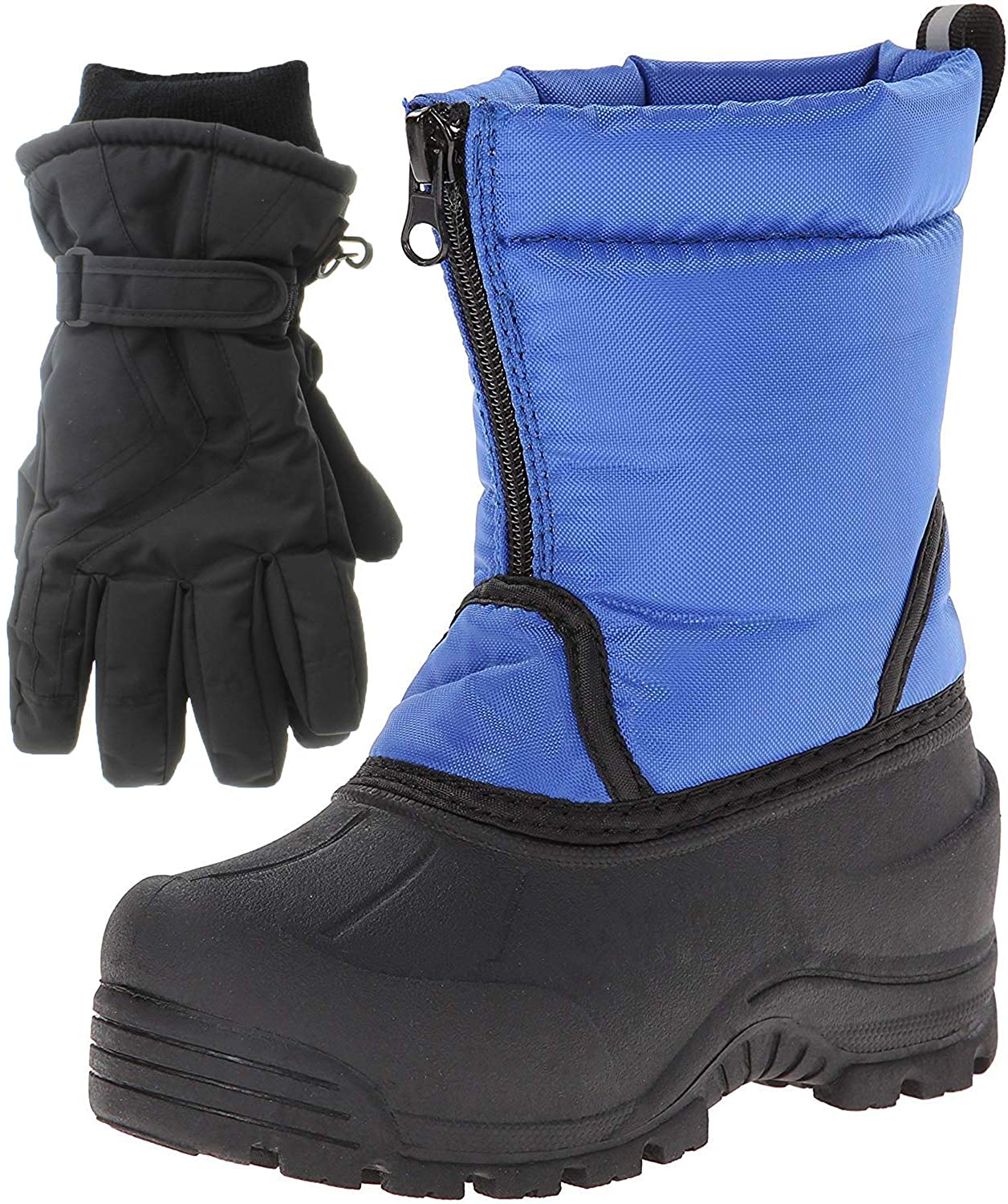 Northside Icicle Winter Snow Boots for Boys with Matching Waterproof Gloves, Size: 3 M US Little Kid - Royal Blue (Blue)
