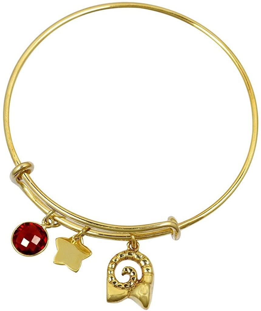 Fadkart Aries Zodiac Star Sign Gold Plated Garnet Birthstone Bangle Bracelet for Girls Women