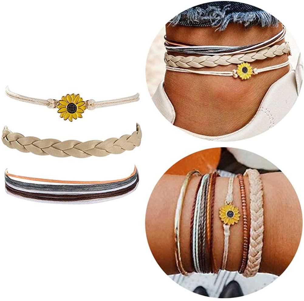 Braided Rope Sunflower Daisy Anklet Handmade Hemp Cords Anklet Boho Woven Rope Flower Anklet for Women Girls Beach Jewelry