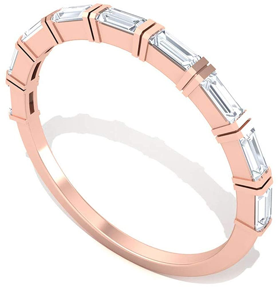 Bar Set IGI Certified Baguette Diamond Wedding Ring, Unique Bridal Anniversary Band Ring, Tiny IJ-SI Diamond Half Eternity Ring, Promise Ring for Her, Valentine Day Gift, 14K Rose Gold,Size: US 7.0