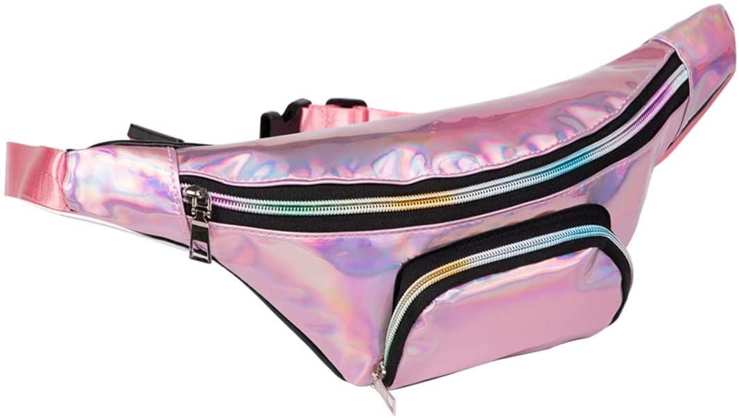 Girls PVC Hologram Fanny Pack Chic Waist Chest Pack Bum Bag Laser Beach Purse (pink)