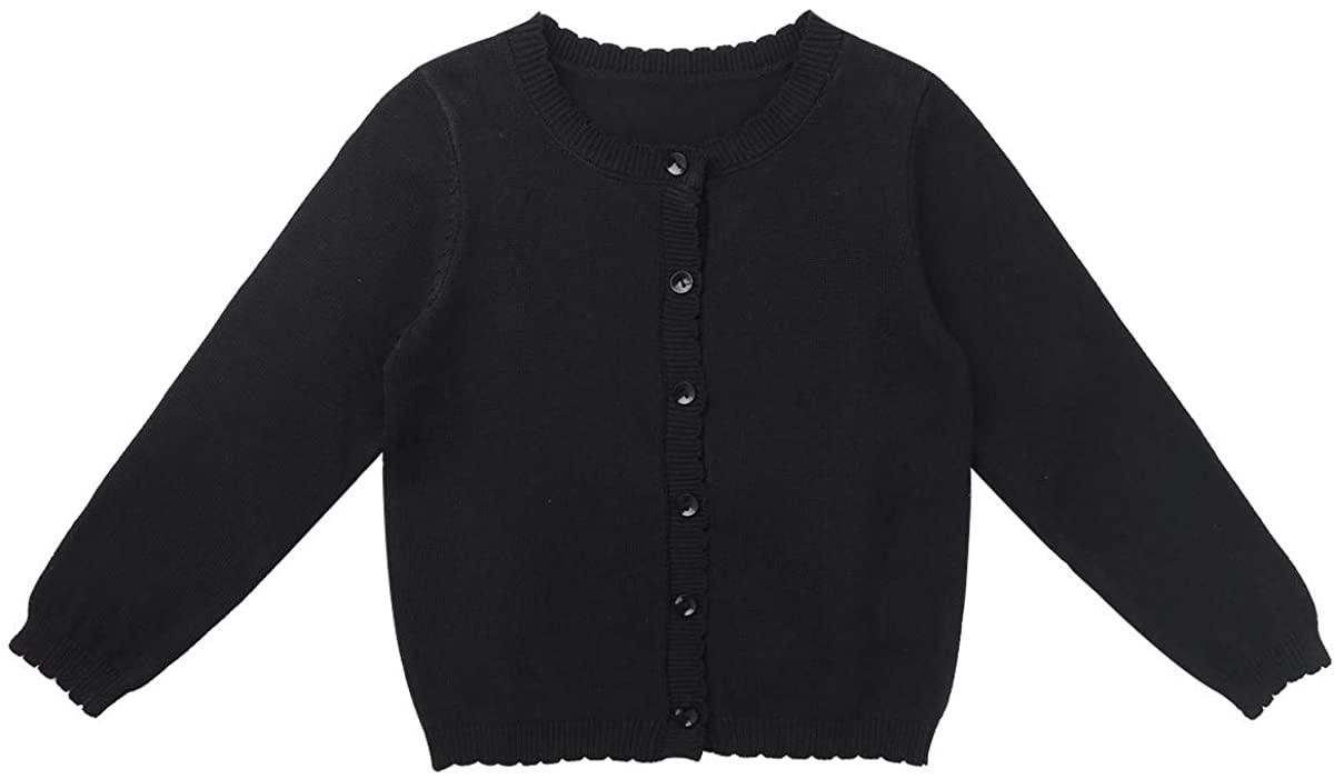 MSemis Kids Girls Basic Long Sleeve Button Down Sweater Shrug Ballet Dance Wrap Top Bolero Cadigan