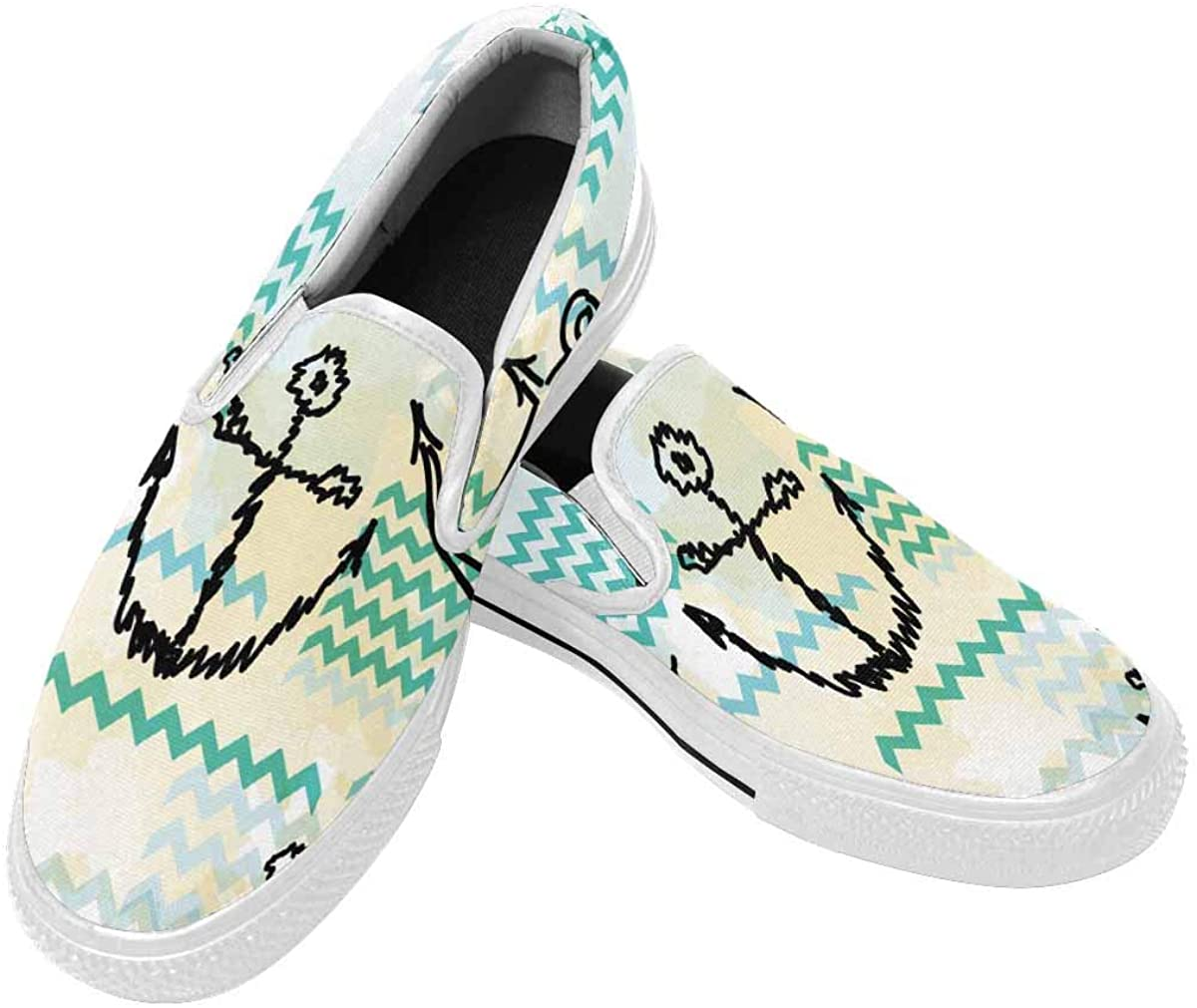 InterestPrint Men Loafers Slip-On Sneakers Casual Comfort Lightweight Travel Stretch Canvas Shoes Anchors and Wave Line