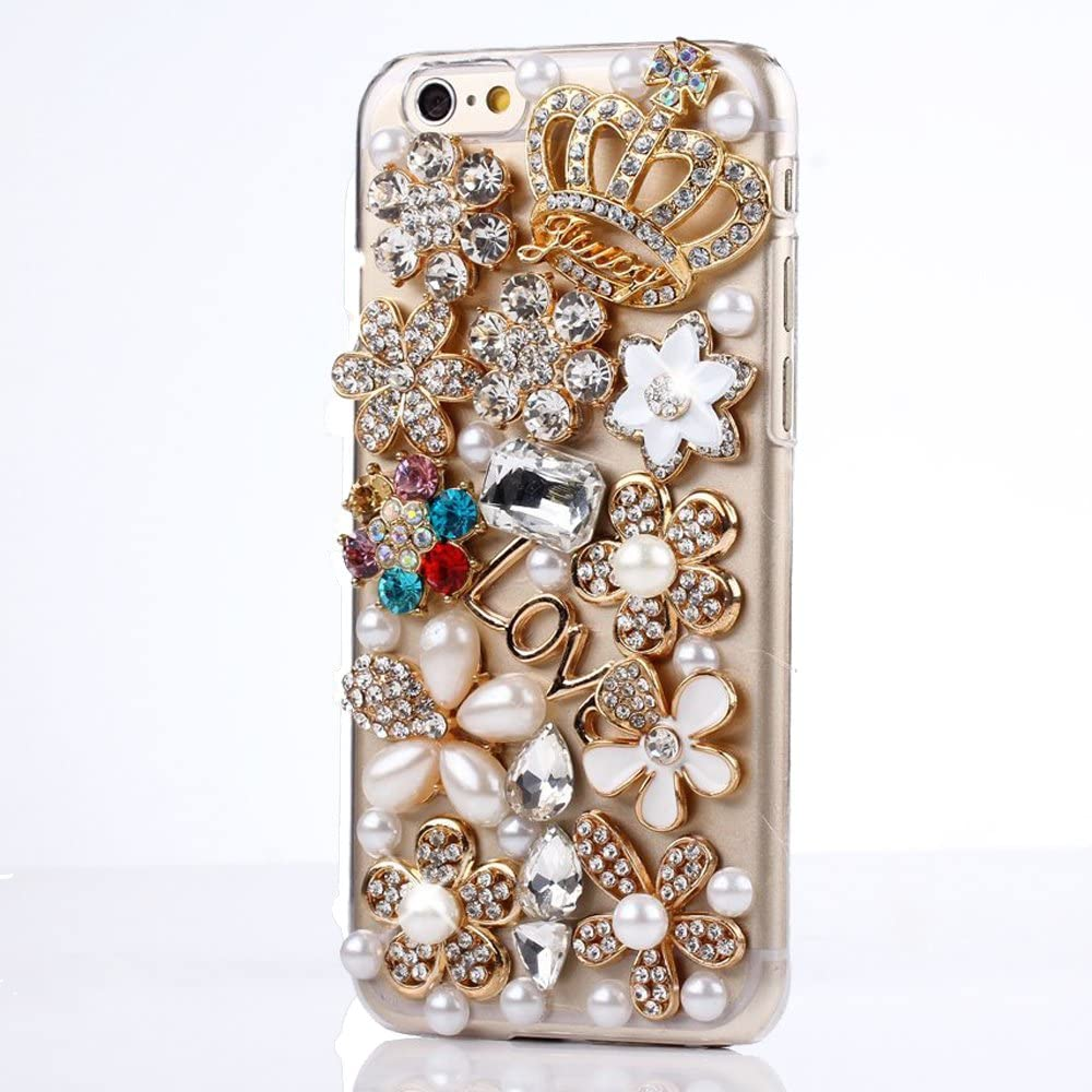 STENES Google Pixel 2 XL Case - 3D Handmade Luxury Series Crystal Golden Crown Flowers Sparkle Rhinestone Cover Bling Case For Google Pixel 2 XL Retro Bowknot Dust Plug - Crystal