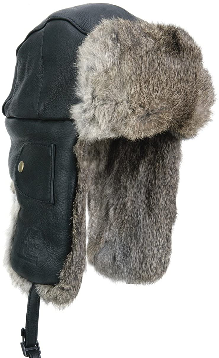 Mad Bomber Leather Bomber Black with Brown Fur