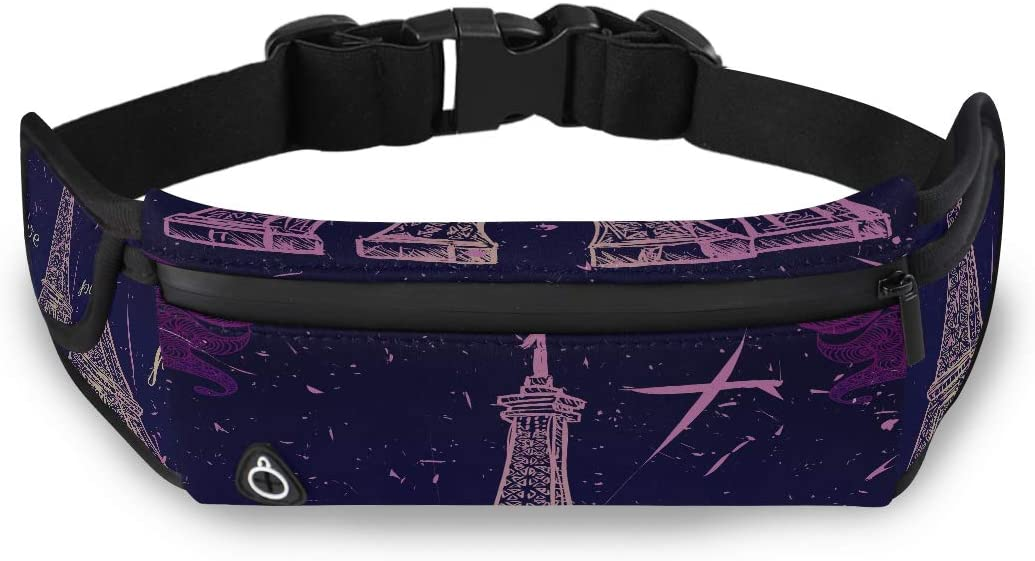 Retro Vintage Paris Eiffel Tower Purple Waist Fanny Packs Waist Bags Women Bags For Girls Fashion With Adjustable Strap For Workout Traveling Running