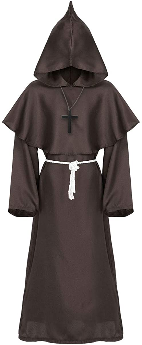 YOOJIA Adults Medieval Priest Sorcerer Halloween Cosplay Costume Cloak Hoodies Robe Capes