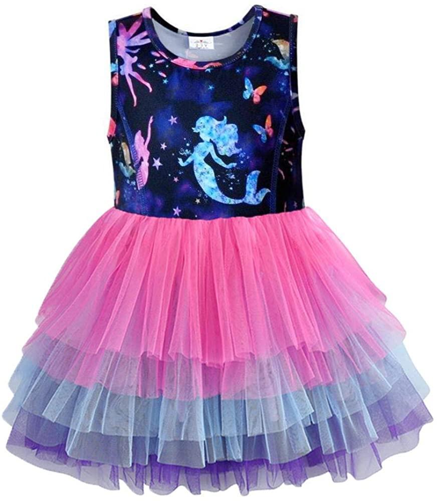 VIKITA Toddler Flower Girl Dress Summer Sleeveless Cotton Tutu Dresses for Girls 3-7 Years, Knee-Length