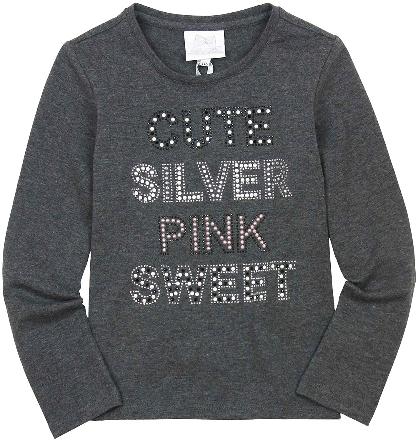 Le Chic Girl's Embellished Top in Gray, Sizes 6-14