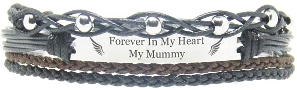 Miiras Remembrance Bracelet, Memorial Jewelry - Forever in My Heart My Mummy - Black 3- Beautiful Way to Remember Your Mummy That is no Longer with You