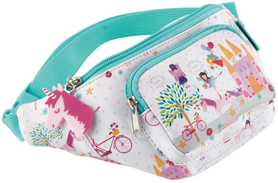 Fairy Unicorn Castle Pretty Pink 11 x 5 Polyester Fabric Waist Belt Bag Pack