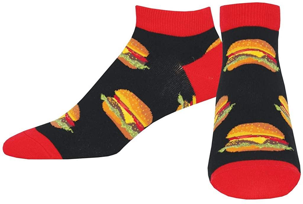 Socksmith Mens Shortie Low Cut Socks Good Burger (Black)