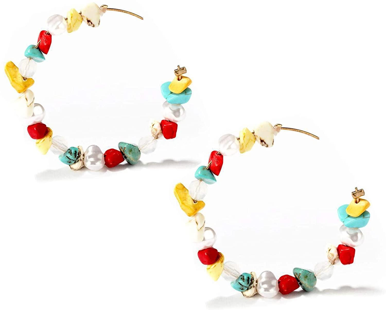 Hoop Earrings for Women Handmade Turquoise Beaded Dangle Earrings Bohemian Hoop Dangle Drop Earrings Stud for Girls