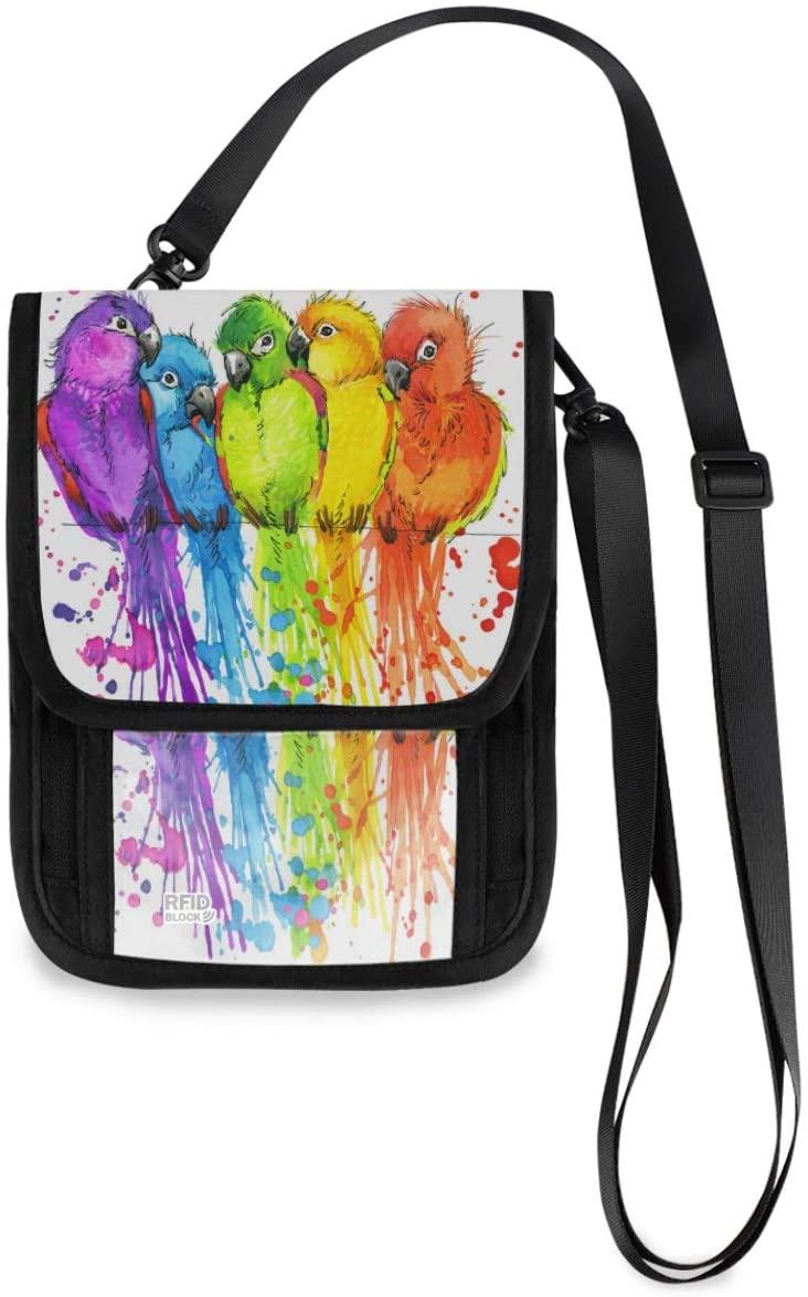 Neck Travel Wallet Neck Pouch - Funny Parrots Passport Holder with RFID Blocking for Women Men Lightweight Passport Wallet