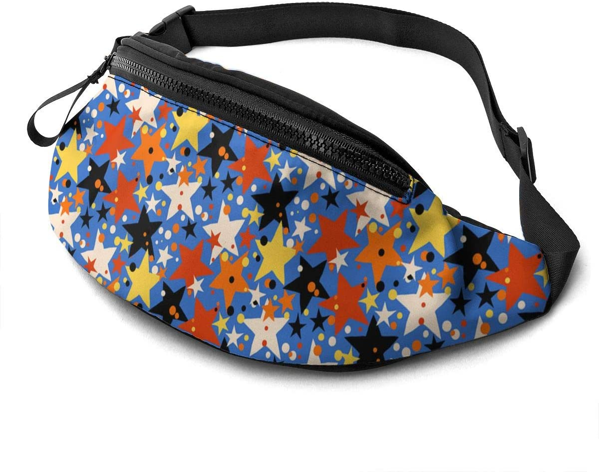 Patriots Blue Colorful Stars Fanny Pack Fashion Waist Bag