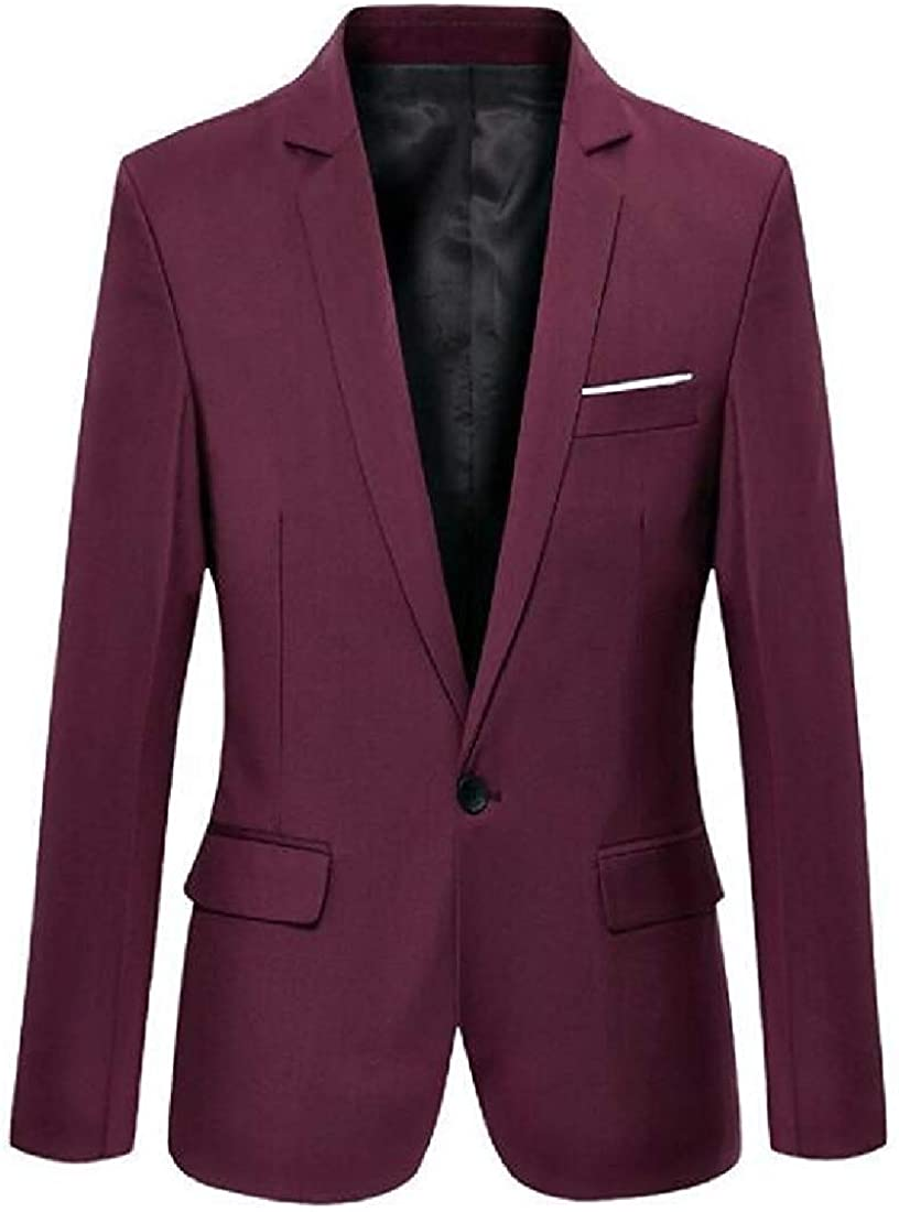 Men's Slim Fit Casual Business Lapel Solid 1 Button Dress Blazer Jacket Sport Coat,Wine Red,Large
