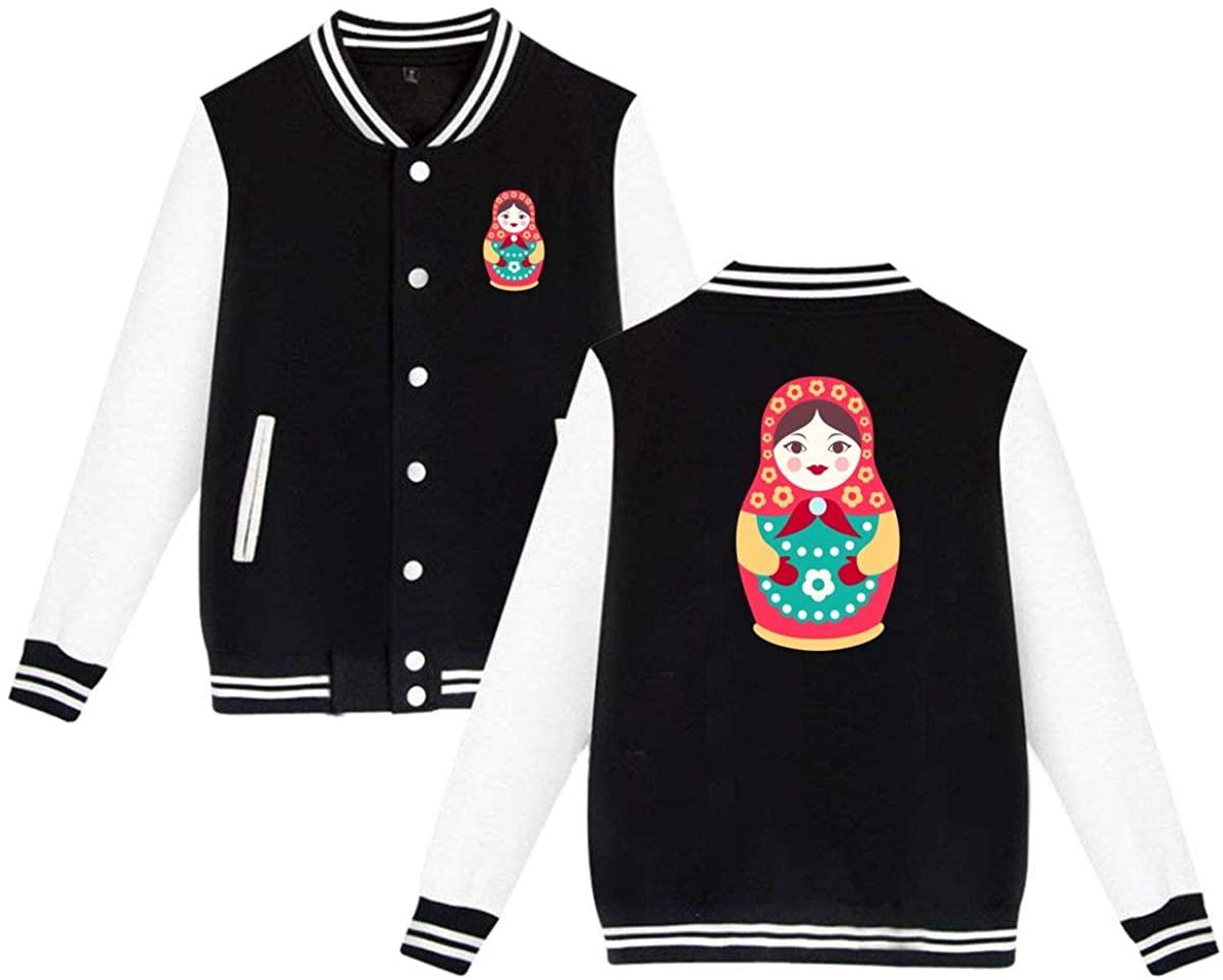 MOCSTONE Unisex Varsity Jacket Russian Doll Baseball Letterman Jackets Sport Coats