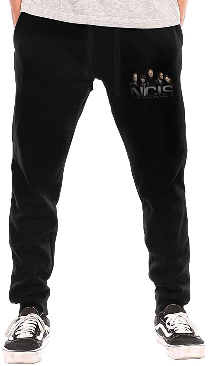 NCIS Men's Workout Activewear Long Pants Boys Running Sweatpants M Black