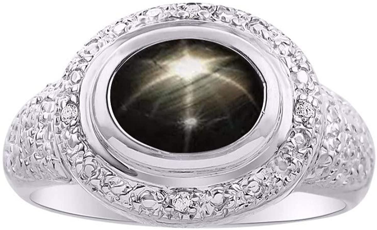 RYLOS Simply Elegant Beautiful Black Star Sapphire & Diamond Ring - March Birthstone
