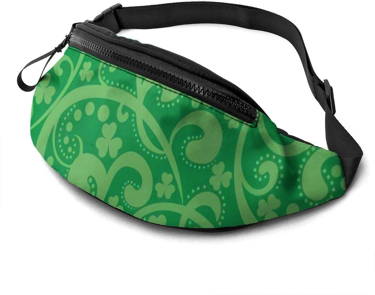 St Patrick Day Fanny Pack for Men Women Waist Pack Bag with Headphone Jack and Zipper Pockets Adjustable Straps