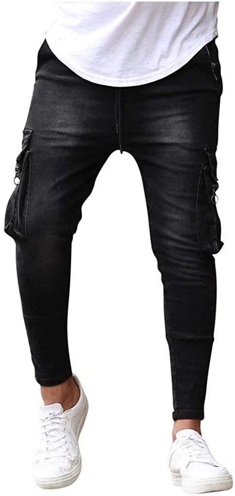 REYO Men's Jeans Pants Slim Fit Stretch Chino Pants Jeans Skinny Destroyed Jeans Denim Leisure Pants