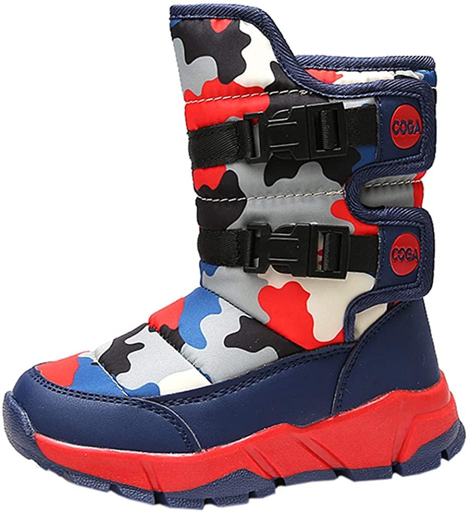 DADAWEN Boys Girls Snow Boots Winter Warm Waterproof Outdoor Slip Resistant Cold Weather Shoes (Toddler/Little Kid/Big Kid)