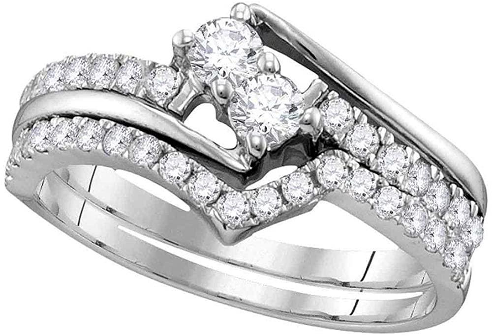Dazzlingrock Collection 0.54 Carat (ctw) Diamond 2-stone Bridal Wedding Ring Set 1/2 CT, 10K White Gold