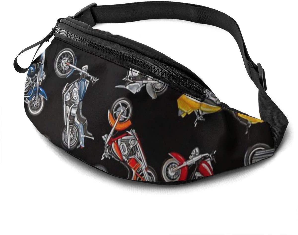 Cartoon Motorcycles Fanny Pack for Men Women Waist Pack Bag with Headphone Jack and Zipper Pockets Adjustable Straps