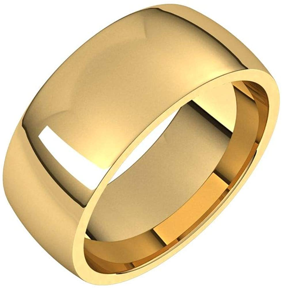Solid 18K Yellow Gold 8mm Half Round Comfort Fit Light Wedding Band Size 11