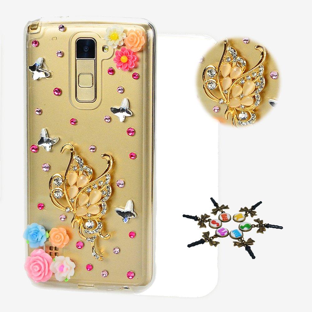 STENES LG Aristo 2 Case - STYLISH - 100+ Bling - 3D Handmade Fairy Butterfly Girl Rose Flowers Design Protective Case For LG Aristo 2