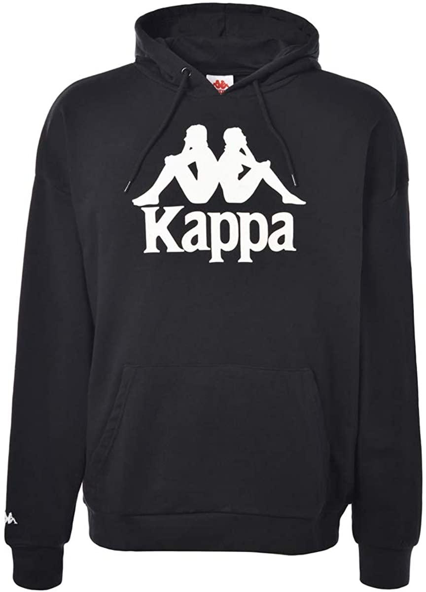 Kappa Mens Authentic Tenax Pullover Hoodie, Black