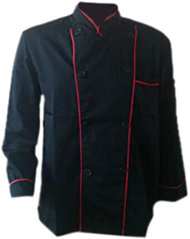 Long Sleeve Classic Kitchen Cook Chef Waiter Waitress Coat Uniform Jacket Black