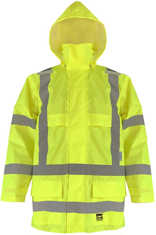 Viking Open Road 150 Denier Trilobal Rip-Stop Hi-Vis Safety Rain Jacket with 2