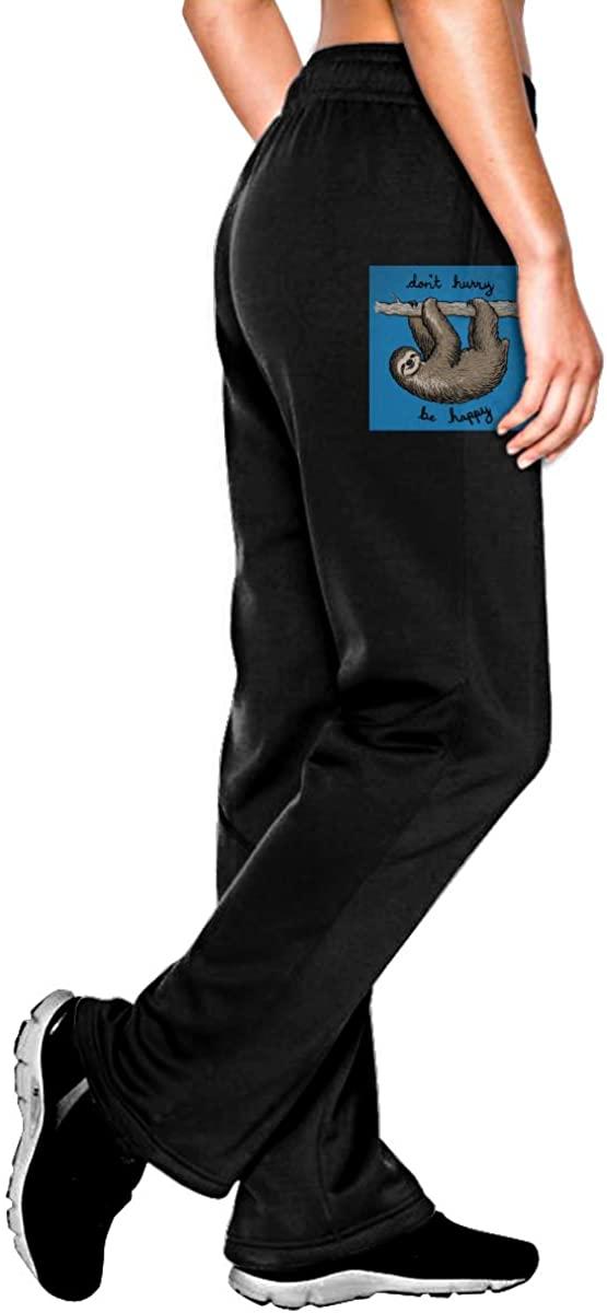 Vhlk07@P Womens Sloth Jogger Sweatpants, Casual Running Pants with Pockets Black