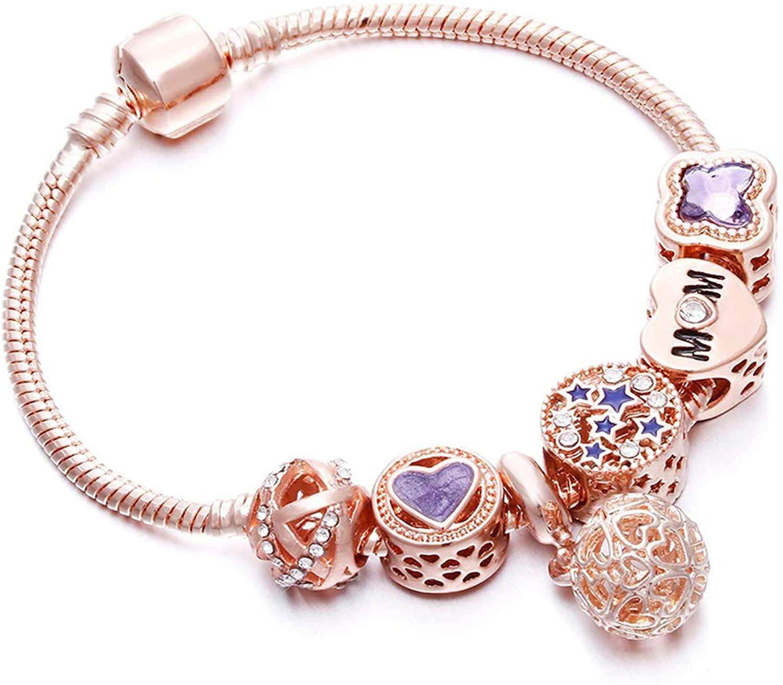 Rose Gold Bracelet Cherry Blossom Tassel Ball Crystal Bead Pendant Charm Trend Bracelets & Bangles For Women Jewelry Girl Gifts,ball,21cm