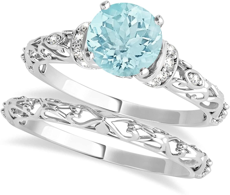 (1.62ct) Platinum Aquamarine and Diamond Antique-Style Bridal Set