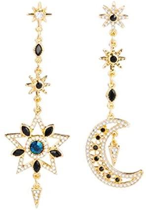 BAUNA Moon Star Earrings Crystal Cubic Zirconia Asymmetric Earrings Drop Hook Earrings Long Pendant Dangle Jewelry for Women Girls