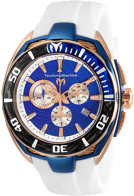 Technomarine Men's Cruise California II Stainless Steel Quartz Watch with Silicone Strap, White, 25 (Model: TM-118048)