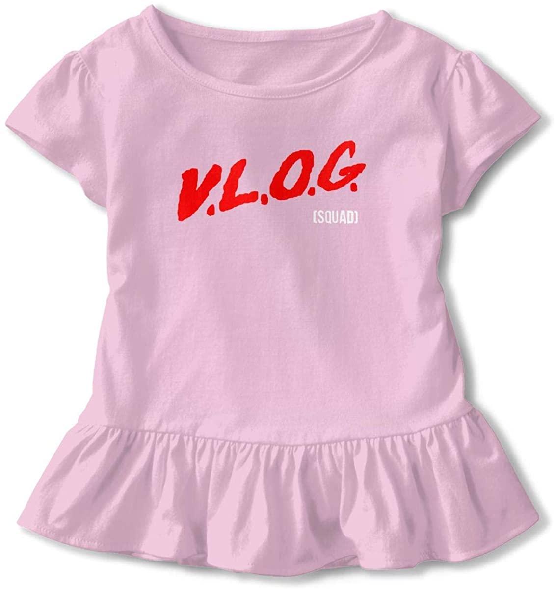 Kid T Shirt Dobrik&Davids Vlog 3D Tee Baseball Ruffle Short Sleeve Cotton Shirts Top for Girls Kids Pink5/6T