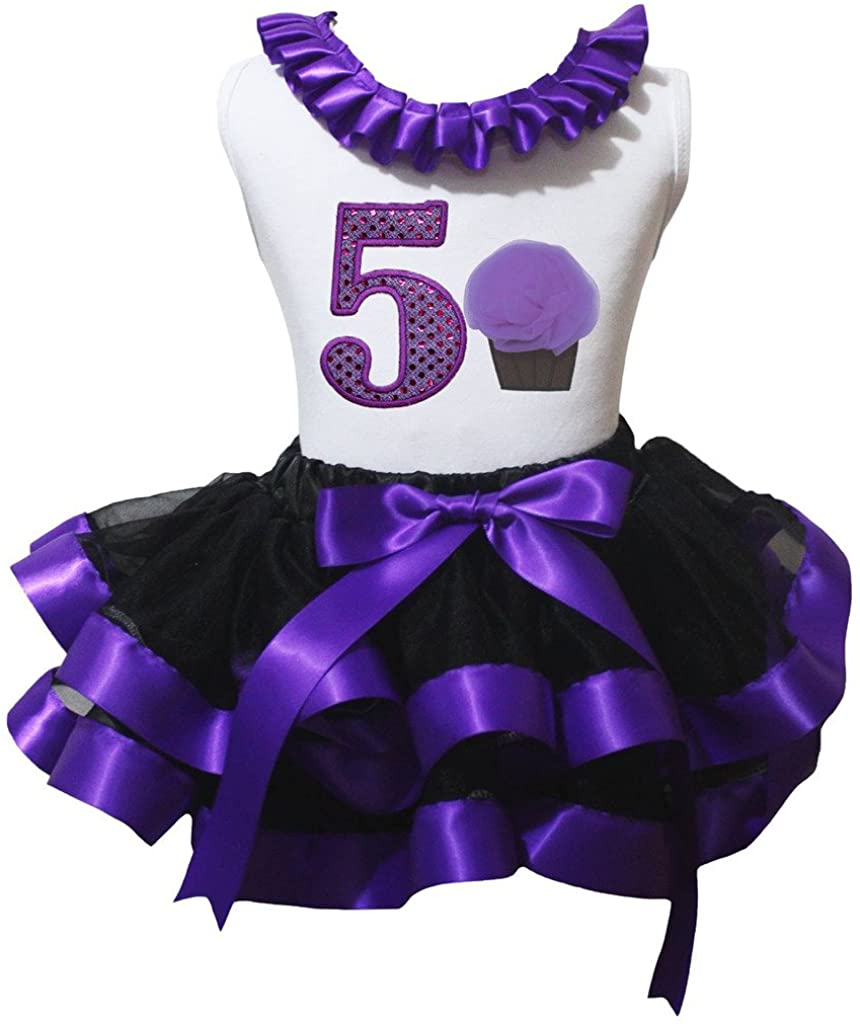 Petitebella Cupcake 1 to 6 White Shirt Black Purple Petal Skirt Outfit