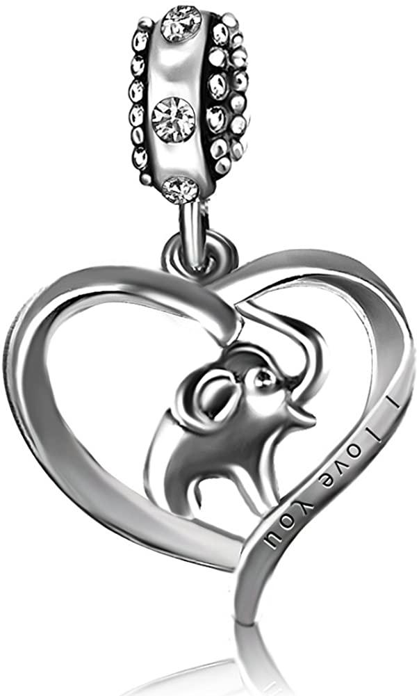 JMQJewelry Heart Love Elephant Birthstone Charms for Bracelets Mothers Grandmas Day