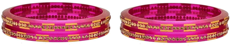 Efulgenz Fashion Jewelry Indian Bollywood Crystal Rhinestone Acrylic Resin Wedding Bridal Bracelet Bangle Set (4 Pcs)